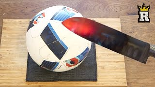 EXPERIMENT Glowing 1000 degree KNIFE VS FOOTBALL