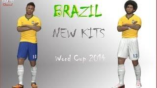 Brazil New Kits Home WORLD CUP 2014 HD - Pes 2014