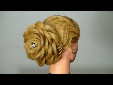 Вечер� яя прическа Роза. Цветок из волос. Hair made rose