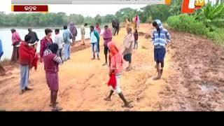Baitarani river embankment collapses in Chandbali