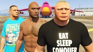 GTA 5 John Cena, The Rock, Brock Lesnar (GTA 5 Mods Gameplay Compilation)
