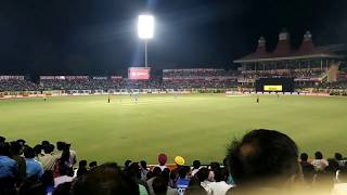 Last Ball Six by MS Dhoni. In to the Air. Dharmashala.