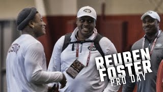 Reuben Foster talks with Jets Head Coach Todd Bowles and DC Kacy Rodgers at Alabama Pro Day