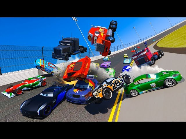 Racing Crash Cars 3 Daytona McQueen Jackson Storm Chick Hicks The King Mack Doc Hudson and Friends