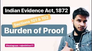 Burden Of Proof: Sections 101 & 102 Indian Evidence Act 1872
