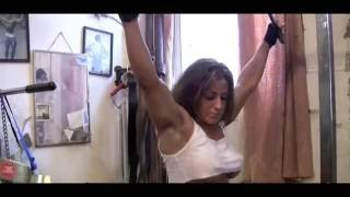 Very strong hot woman amazing gym workout