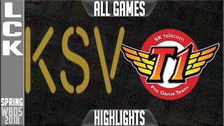 KSV vs SKT Highlights ALL GAMES | LCK Week 8 Spring 2018 W8D5 | KSV E-Sports vs SK Telecom T1