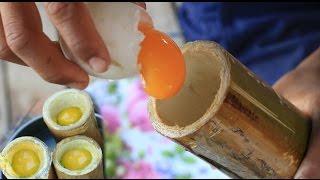 Bamboo Omelet - Smart Boys Cook Egg Inside Bamboo For His Family