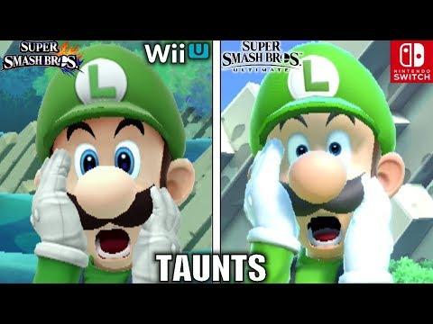 Smash Bros Taunts Comparison Wii U VS Ultimate Graphics Voice Taunt Changes & MORE