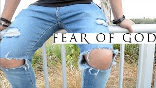 FEAR OF GOD FOG JEANS UNDER $50 DIY | DISTRESSED + ZIPPER