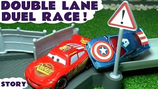 Disney Cars Toys Duel Race McQueen vs Captain America Hulk Superman Family Fun Video for kids TT4U