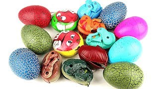 15 Dinosaur Eggs -Learn Names of Dinosaur with 4D Puzzle, Transforming Eggs, M&M