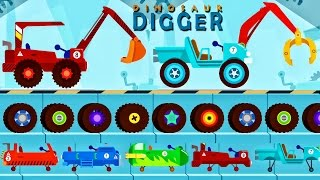 Car Monster Truck Cartoons for Children: Emergency Vehicles for Kids - Car Dinosaur Digger Cartoons