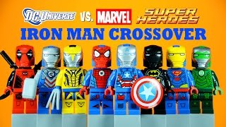 LEGO Iron Man Marvel vs DC Crossover Armory KnockOff Minifigures Set 2 Superman Spider-Man