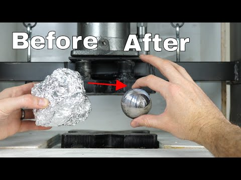 Mirror Polished Japanese Foil Ball Challenge Crushed in a Hydraulic Press What s Inside