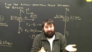 Newton`s Laws Tension Action Reaction Between Boxes Being Pushed
