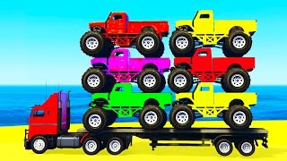 MONSTER TRUCK Transportation in Spiderman Kids Cars Cartoon w Colors for Children Nursery Rhymes