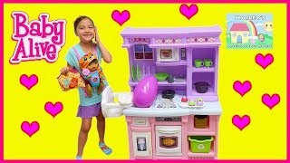 Big Baby Alive Doll Playing on Playground and Pretend Play Kitchen Toy!