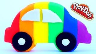 DIY How To Make Play Dough Rainbow Car Fun and Creative Kids Video Play Doh Cars Molds