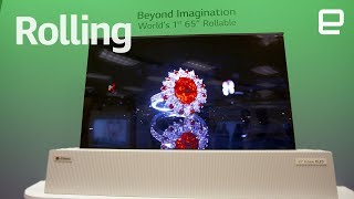 """LG's 65"""" Rollable OLED TV first look at CES 2018"""