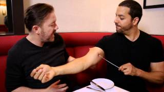 Ricky Gervais Sees Pierced Arm: Real or Magic | David Blaine