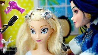 Barbie Beauty Salon Frozen Elsa Doll Hair Color Change by Descendants 2  Evie
