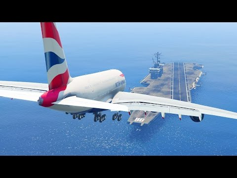 watch GTA 5 - LANDING GIGANTIC A380 ON THE AIRCRAFT CARRIER (GTA 5 Funny Moment)
