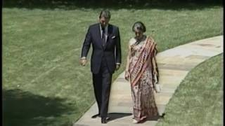 Prime Minister Gandhi of India State Visit, Arrival Ceremony, Meetings on July 29, 1982