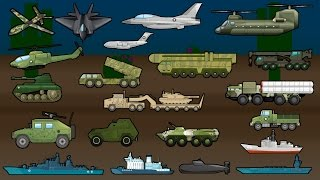 Learning Military Vehicles - Trucks, Airplanes and Ships - Children