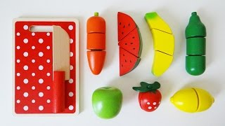 Wooden toy velcro cutting fruit cooking playset