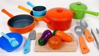 Cookware Pots and Pans Toy Playset for Children Kitchen Cooking Vegetable Soup Pretend Play for Kids