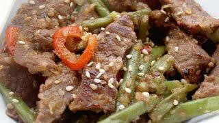 Boeuf aux haricots verts au wok facile
