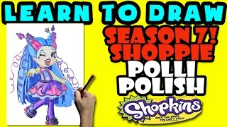 How To Draw Shoppies Shopkins: Polli Polish, Step By Step Shoppies Drawing Shopkins