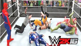 WWE 2K16 - Spider-Man vs Hulk vs Bane vs Goku vs Deadpool vs Superman