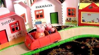 Playset O Shopping da Peppa Pig com o Carrinho do Papai Pig e Loja de Brinquedos TOYSBR