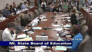Michigan State Board of Education Meeting for September 14, 2016 - Session Part 2
