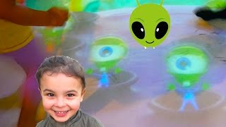 Fun Green Alien Computer Games played with feet, Indoor Playground fun