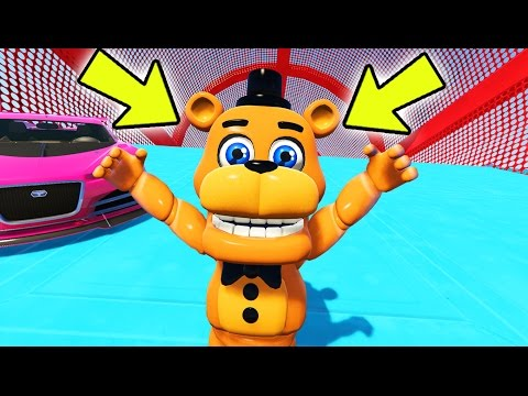 ADVENTURE FREDDY STUNTS ON WORLD'S BIGGEST RAMPS IN GTA 5! (GTA 5 Mods For Kids FNAF Funny Moments)
