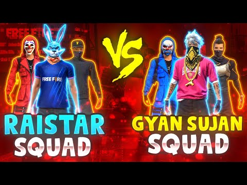 Raistar Voice Reaction 4 vs 4 GyanSujan Squad😵🔥 10000 Diamonds Challenge Garena Free Fire