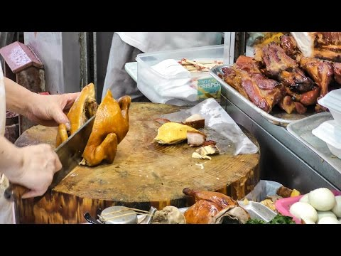 Hong Kong Street Food. The Quick Lunch Boxes of Chopped Chickens and Pork. Seen Around Wan Chai