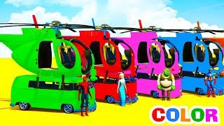 Learn Colors Helicopters on Bus with Superheroes Cartoon Animation for Kids & Nursery Rhymes Songs