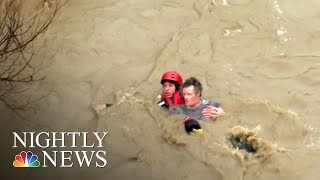 Powerful Storm Slams California Bringing Flooding, Rescues And Evacuations | NBC Nightly News