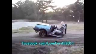 Crazy Driver on Half Car...Hehehe