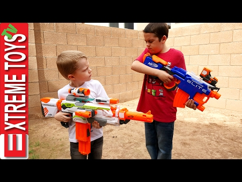 Nerf Blaster Madness Ethan and Cole Nerf Modulus mess
