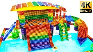 DIY How To Build Rainbow Swimming Pool Playground From Magnetic Balls - Satisfaction - Magnet Balls