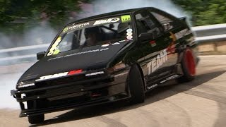Insane Drifts Toyota Corolla AE86 Swiss Hillclimb amazing multi-view Onboard from Swen Burkhard
