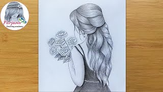 How to draw a girl with flowers - step by step / Beautiful hairstyle Pencil Sketch
