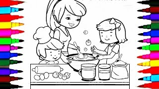 Coloring Pages Kitchen l Mommy Baking with Boy and Girl l Drawing Pages To Learn Color For Kids