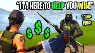 I HIRED A FORTNITE COACH ONLINE TO HELP ME WIN! (PRETENDING TO BE A NOOB)
