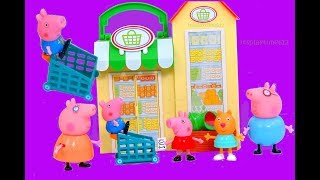 Peppa Pig LITTLE GROCERY STORE with Velcro Cutting Foods Learning Colors | itsplaytime612 Toys Play